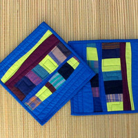 Modern Pot Holders, Blue Potholders, Modern Hotpads, Abstract