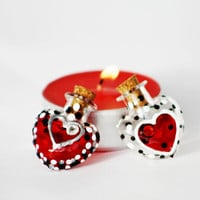 Heart Vials Hand Painted Be My Valentine Red by NevenaArtGlass