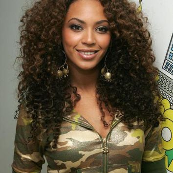 Stylish Beyonce African American Hairstyle Long Curly Brown Full Lace ...