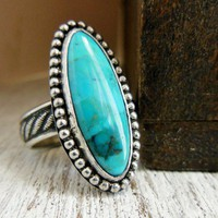 Modern Western Turquoise Ring Long Oval Natural Blue Rope Band