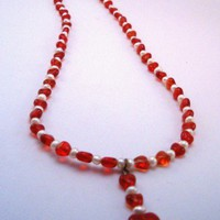Valentine Hearts and Faux Pearls Necklace