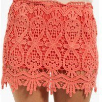 NWT CORAL CROCHET LACE MINI A LINE VINTAGE SKIRT ELASTIC WAIST NEW WITH TAGS