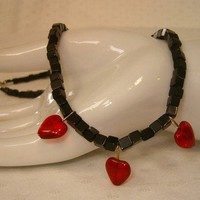 Black Onyx with Red Hearts Valentine Necklace