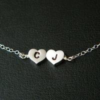 TWO Heart Initial Necklace Reversible by DanglingJewelry on Etsy