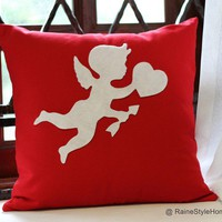 Valentine Gift. Cupid Sending Love Red and White Pillow Cover. Color Choice Available