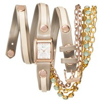 La Mer Triple Wrap Watch with Gold Chain - Beige