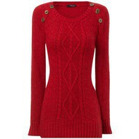 Red Button Detail Cable Knit Jumper - Jane Norman - Polyvore