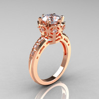 Modern Classic 10K Pink Gold 1.5 Carat CZ Diamond Crown Engagement Ring AR128-10KPGCZD