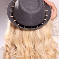 Charcoal Spike Studded Faux Leather Band Curved Brim Fedora @ Amiclubwear Hat Online Store: Women&#x27;s Hat,Baseball Hat,Beanie Hat,Summer Hats,Cowboy Hats,Western Hats,Newsboy Cab Cap,Baseball Caps,Ladies Hats,Wool Felt Hats,Women&#x27;s Dress Hats,Cloche Hats,St