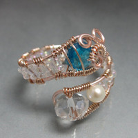 Hand Made Copper Wire Wrapped Bead Ring, adjustable