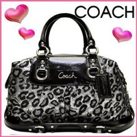 # COACH ASHLEY OCELOT LEOPARD SATIN SATCHEL BLACK/SILVER HAND BAG PURSE F15520