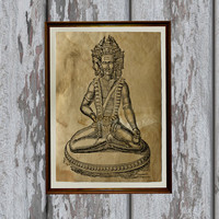 Brahma print Old paper Vintage art antique looking Hindu God