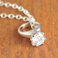 Diamon Ring Necklace - sterling silver, ring charm necklace, diamond ring pendant