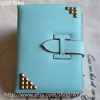 iPad mini Case, iPad mini Cover ,iPad,blue case with bronze stud,studded  mini ipad case