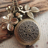 Time for my Garden a pocketwatch necklace in by trinketsforkeeps