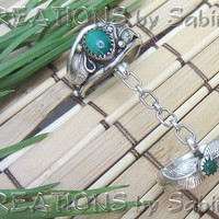 Sterling Silver Green Turquoise Double Ring by CREATIONSbySabine