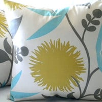 Pillow cover  Dahlia Print Floral  16 x 16