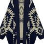 Navy Batwing Geometric Cardigan Sweater S172
