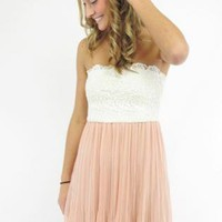White & Light Pink Dress with Lace Top & Chiffon Pleat Skirt