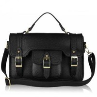 Black Cross Body Satchel Bag with Metal Hardware