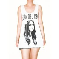 Lana Del Rey White No Sew T-Shirt Tank Top Tunic Size M on RebelsMarket