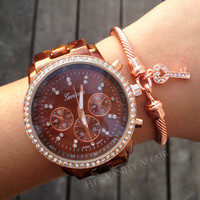 Rose Gold Oversized Tortoise Watch