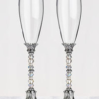 Elegant Beaded Toasting Glasses | The Zaleski Collection