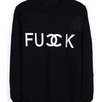 Black FU DOUBLE CK Print Sweatshirt S161