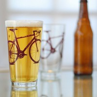 4 bike pint glasses burgundy bicycle by vital on Etsy