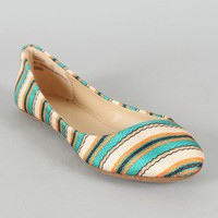 Bamboo Lula-07 Fabric Striped Round Toe Ballet Flat