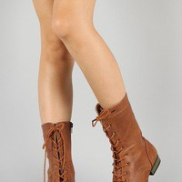 Libby-01 Military Lace Up Mid Calf Boot