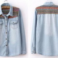 Vintage Blue Denim Shirt by Tulita on Zibbet