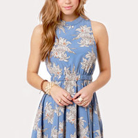 Just a Lily Bit Blue Floral Print Dress