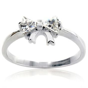 Stainless Steel Cubic Zirconia Bowtie Setting Ring | Overstock.com