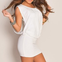 Simple White Scoop Neck Banded Skirt Draped Cute Dress