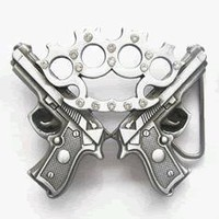 Double Guns Brass Knuckles Belt Buckle