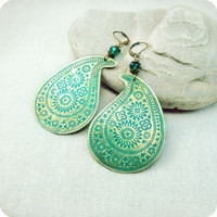 Brass earrings paisley with green blue patina by RadhikaJewelry