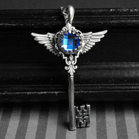 Winged skeleton key necklace - blue glass rhinestone - gothic, victorian, steampunk