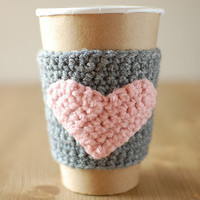 Cup cozy, Gray with Pink heart by The Cozy Project