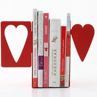 Bookends -Heart- laser cut metal bookends