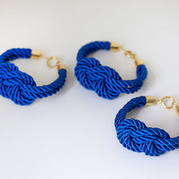 Bridesmaid Wedding Set of 3 Nautical Silk cord Navy Blue by pardes