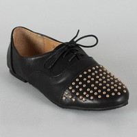 Studded Round Toe Lace Up Oxford Flat