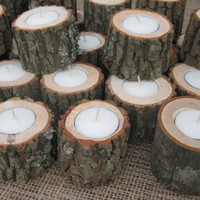 Rustic Wedding Decor Candleholders Log for by YourDivineAffair