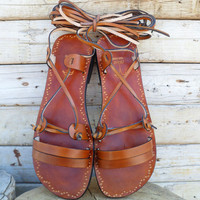 Ancient Style Lace Up Brown Leather Handmade Flat Roman Sandals