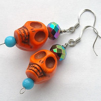 Bright Orange Day of the Dead Beaded Skull Earrings by InkandRoses13