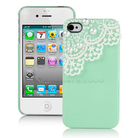 Luxury Mint Green Pearl Lace Hard Cover Case For iPhone 4 4S w/ Screen Protector