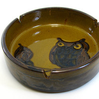 Vintage Owl Stoneware Ashtray 60s Woodland Hippie Home Decor