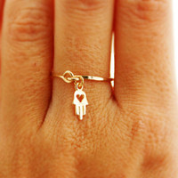 Valentine&#x27;s Day, Gold ring, ANY SIZE, 14k gold filled, gold hamsa, wedding, engagement ring, thin ring, stacking ring, hammered gold ring