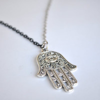 Hamsa Necklace. Two tone chain. Unisex.