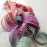 "Pastel Tie Dye Ombre Hair Extensions, Unicorn Hair with Pink Purple and Blue, 6 pieces, 20"", Ready To Ship"